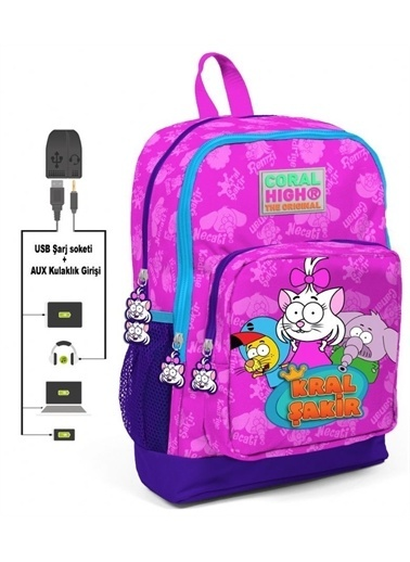 Yaygan Kral Şakir Kız Çocuk Pembe Okul Çantası - USB ve AUX Çıkışlı Renkli